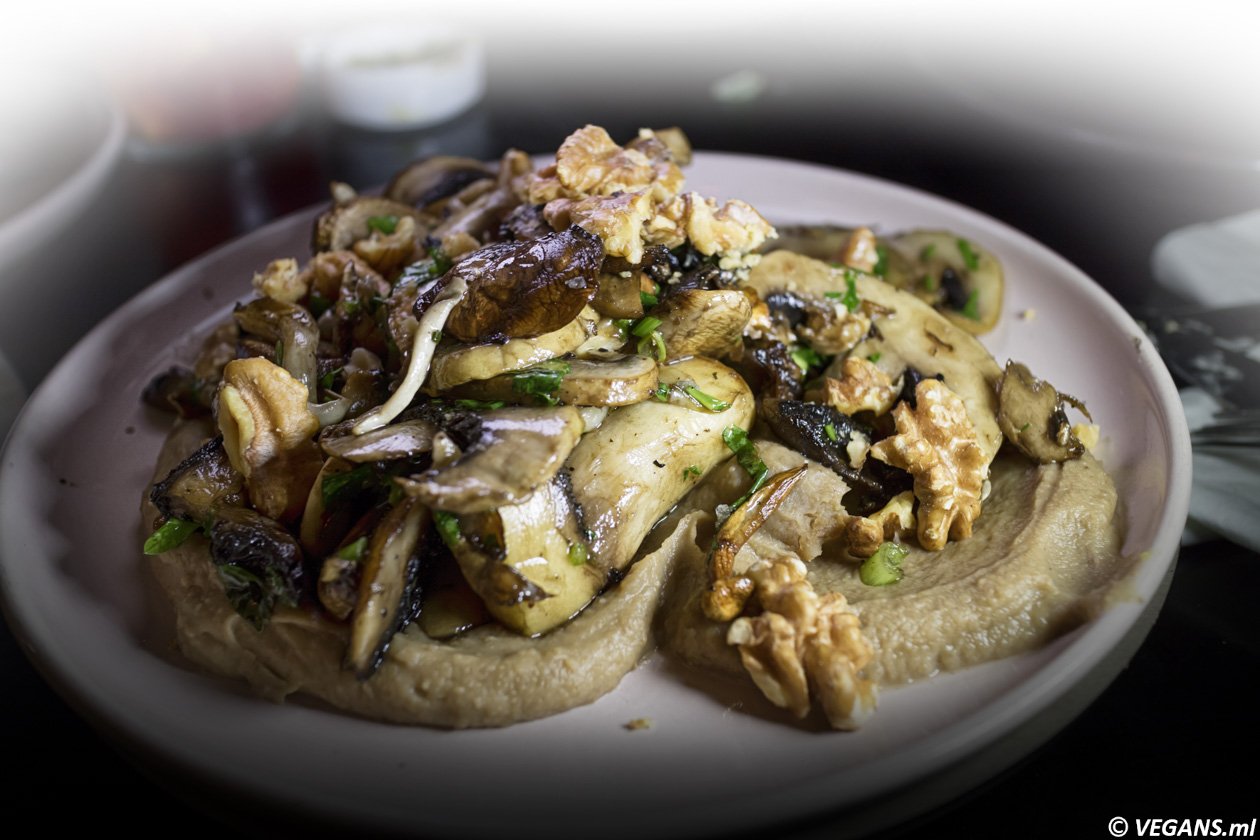 bana Roasted mushrooms on chestnut puree with chopped herbs, walnuts, and a bit of nutmeg on top